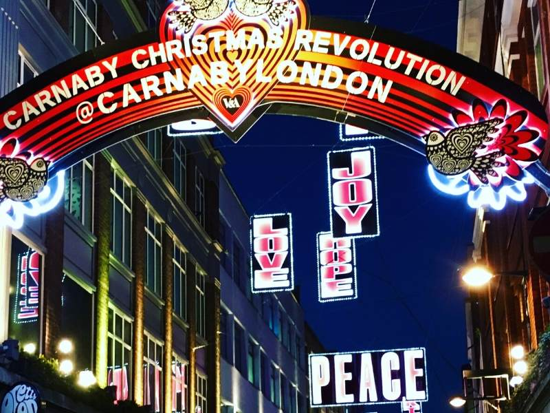 A picture showing Christmas lights at Carnaby Street