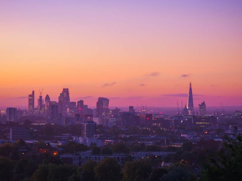 View of London at sunrise from Hampstead Heath