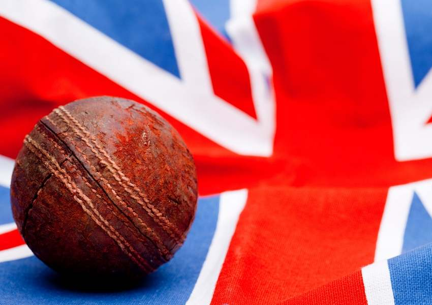A picture of a cricket ball on the Union Jack
