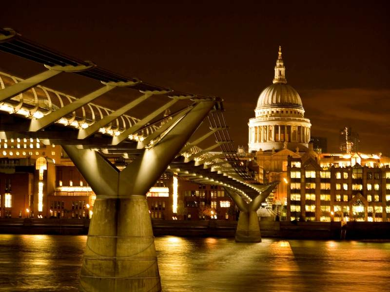 The Millennium Bridge in London with a view of St Paul's Cathedral