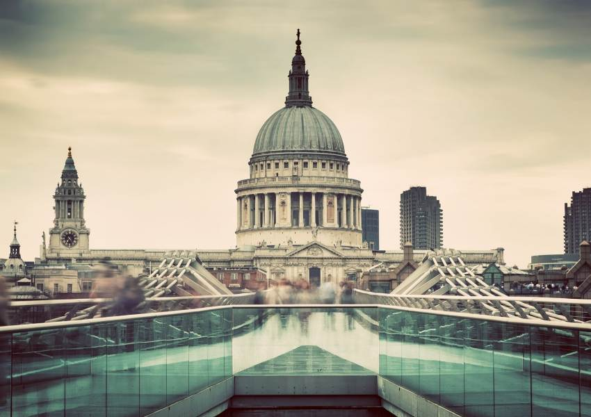 A view of the Millennium Bridge and St Paul's Cathedral