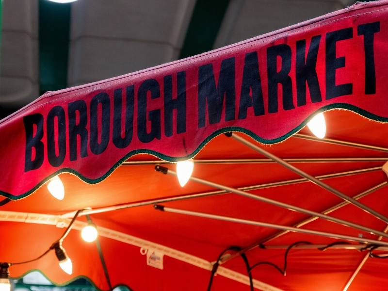 A sign for Borough Market in London