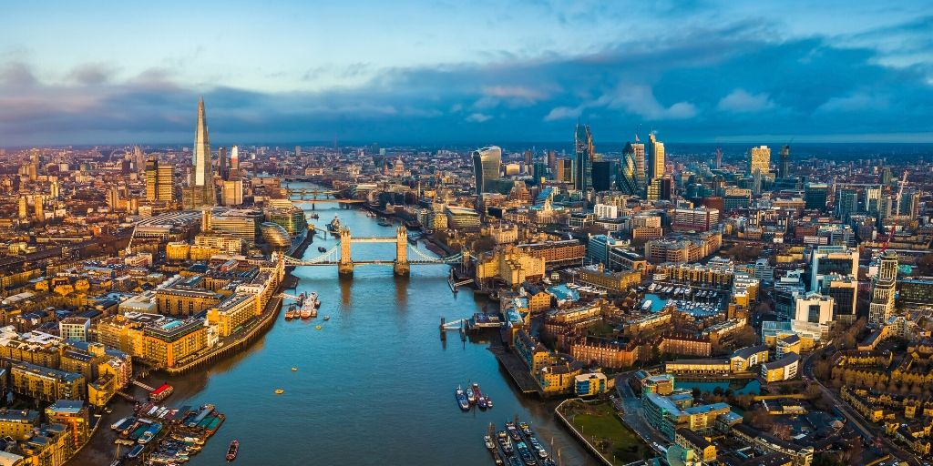 aerial view of London providing lots of London bucket list inspiration