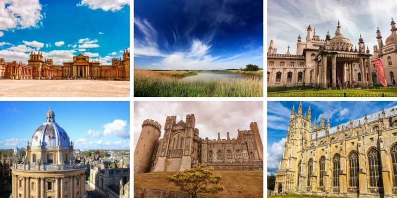 A picture showing 6 places to visit in South East England including Blenheim Palace, Brighton Pavilion and Canterbury Cathedral