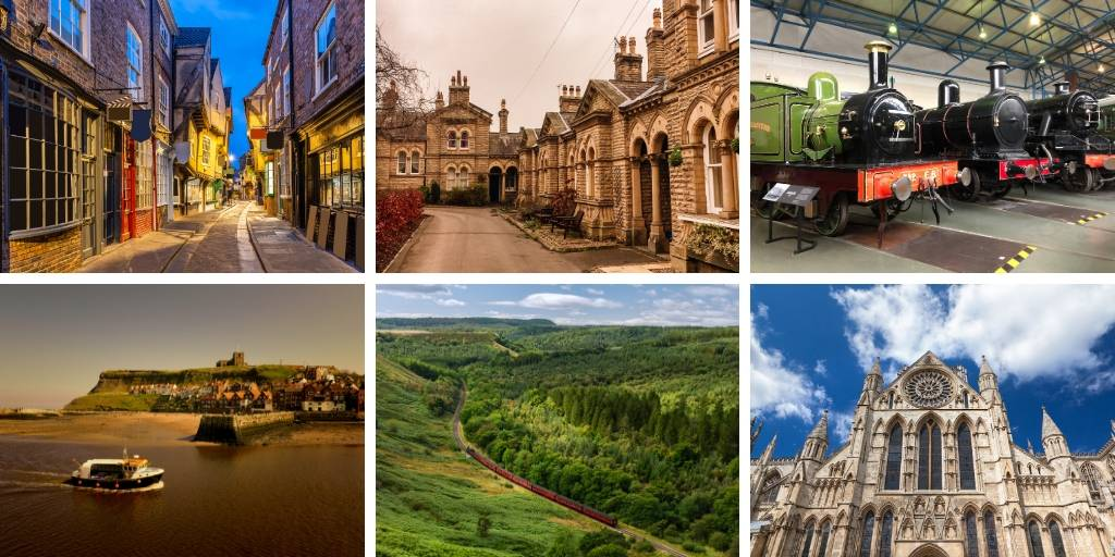 A picture showing 6 places to visit in Yorkshire including York, Saltaire and Fountains Abbey