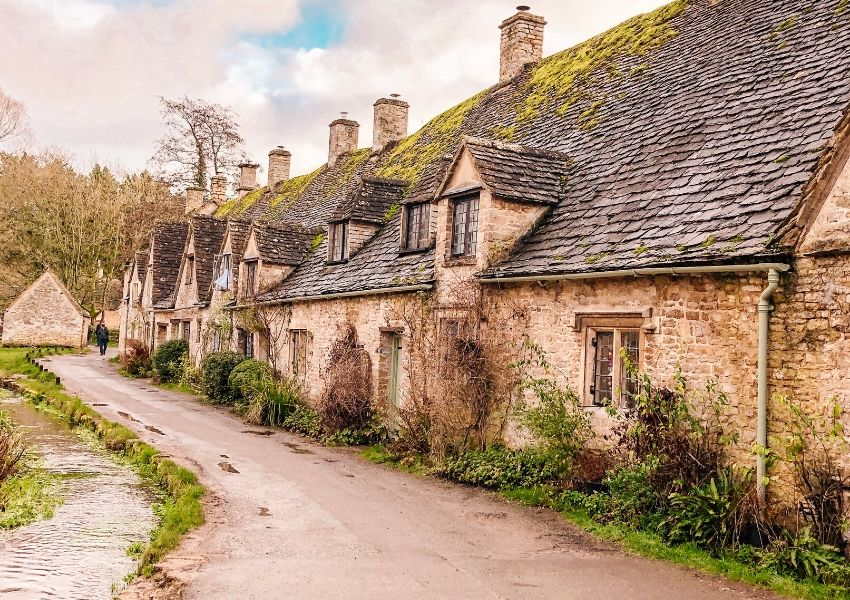 A row of old cottages called Arlington Row in Bibury