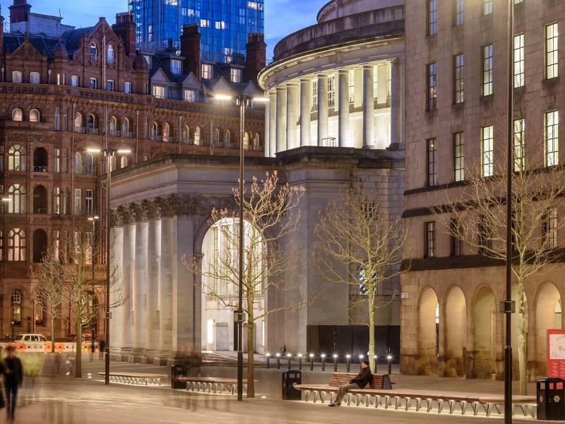 A picture of Manchester city centre at night