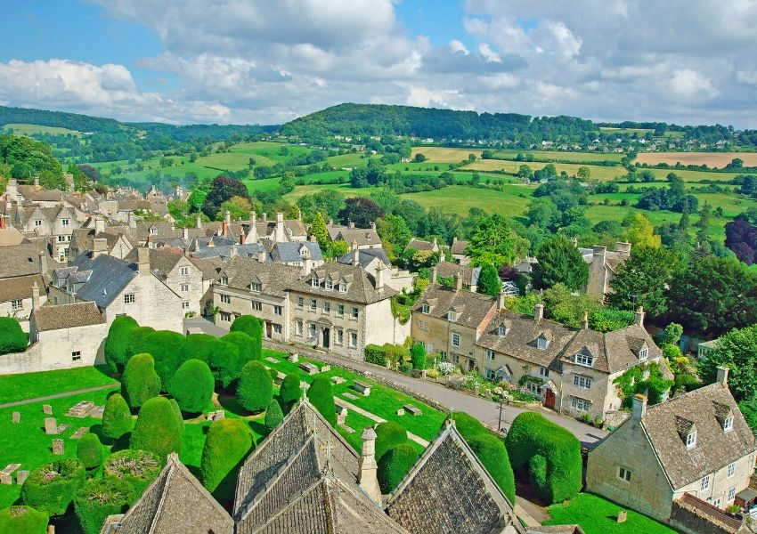 An aerial shot of Painswick one of the best villages to visit in the Cotswolds