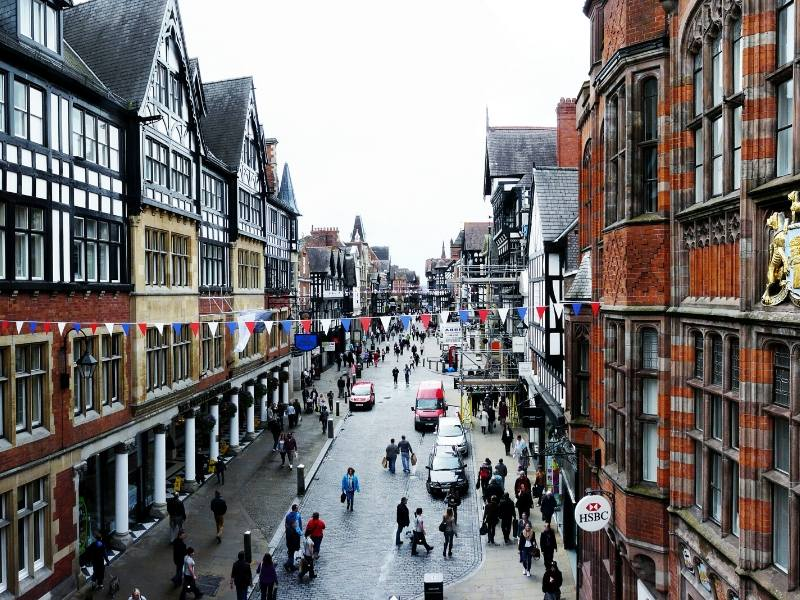 A picture showing the centre of Chester one of the most interesting cities to visit in North West England