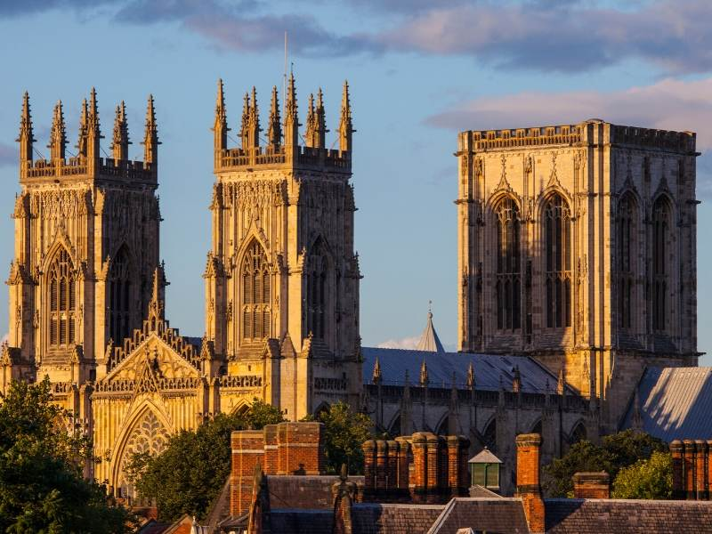 A picture of York Minster spires one of the most famous landmarks in the UK