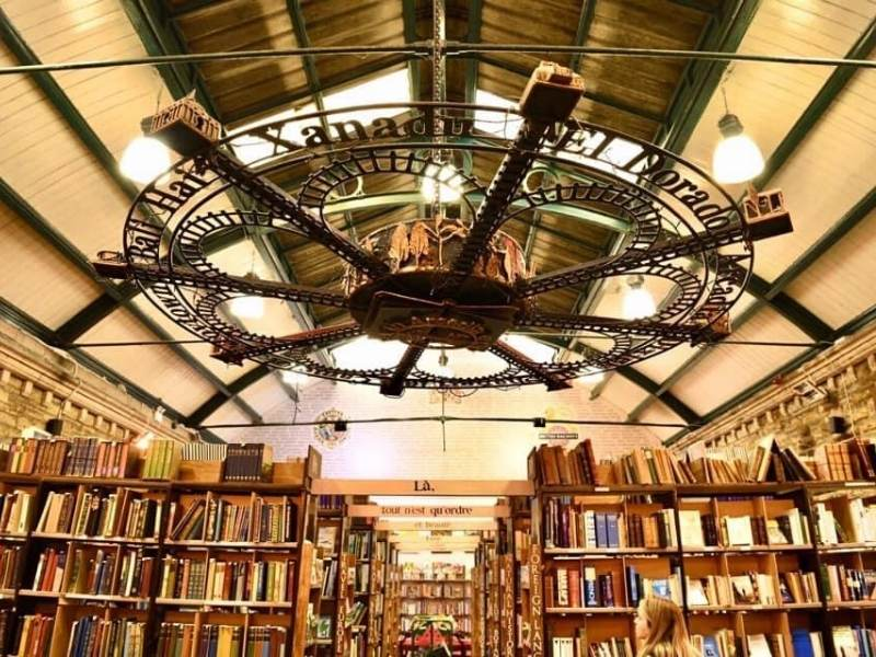 A photo a Barter Books bookshop showing lots of books and bookshelves