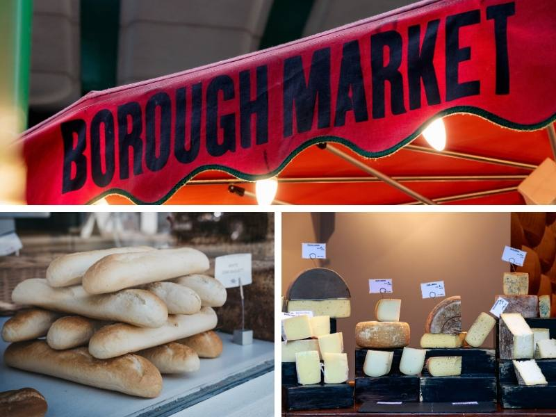 Borough Market in London and examples of bread and cheese that can be purchased there