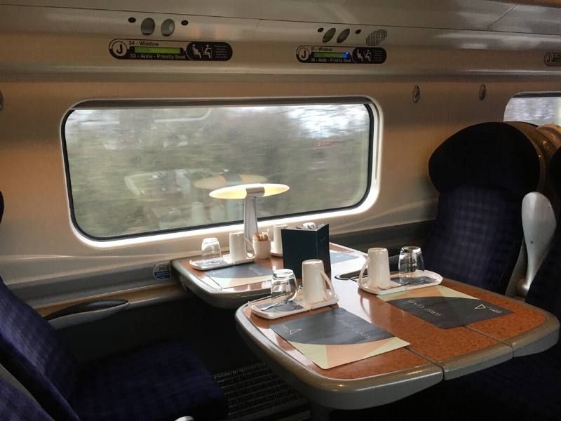 First Class train carriage in England