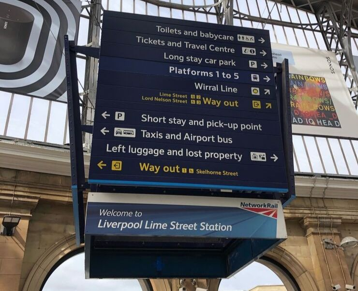 Information boards at a UK train station
