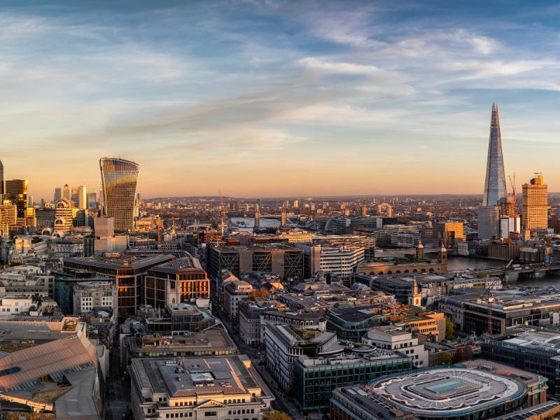 A view of the Walkie Talkie and the Shard in London