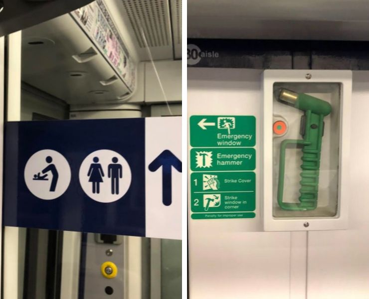 Toilet sign and emergency hammer on a UK train