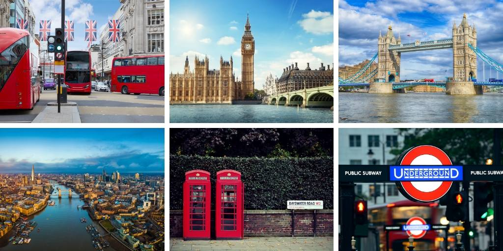 A collage of photographs of London including a london bus, Big Ben and Tower Bridge