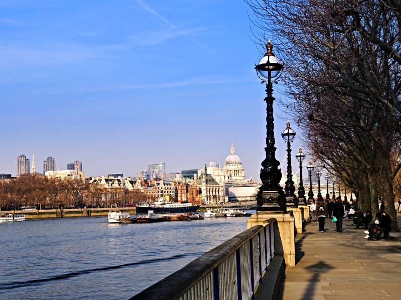 A walk along the river Thames in London with St Paul's in the background is a great budget London experience