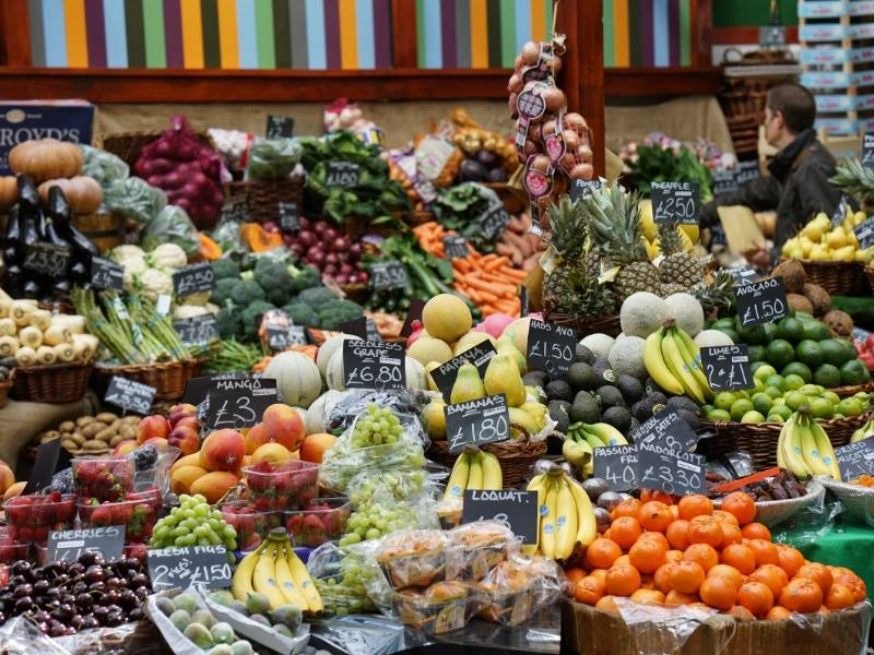 Fruit and veg stall at Borough Market one of a number of free things to do in London