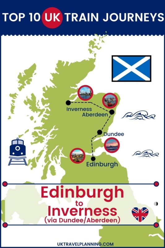 Traveling the UK by rail is a wonderful way to see the country. Check out our top 10 train trips and scenic rail journeys to take across the UK. Edinburgh to Inverness (via Dundee and Aberdeen) #UK #travel #trains #rail #railway