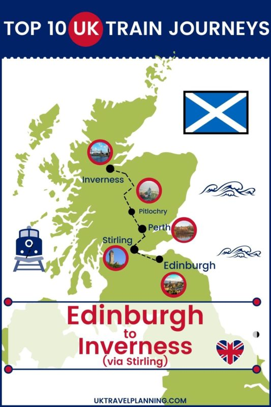 Traveling the UK by rail is a wonderful way to see the country. Check out our top 10 train trips and scenic rail journeys to take across the UK. Edinburgh to Inverness via Stirling #UK #travel #trains #rail #railway
