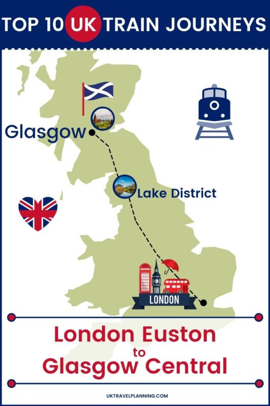 Traveling the UK by rail is a wonderful way to see the country. Check out our top 10 train trips and scenic rail journeys to take across the UK. London Euston to Glasgow Central #UK #travel #trains #rail #railway