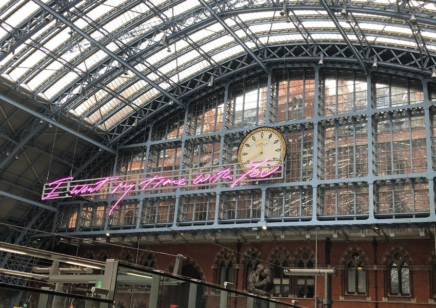 St Pancras station with Tracey Emin's art work can be seen if you stay in one of the hotels near Kings Cross Station London or St Pancras or are catching a train from one of these stations