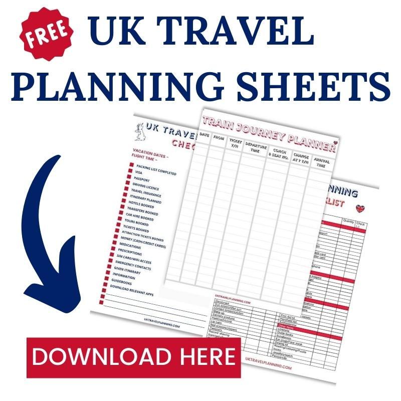 UK travel planning sheets