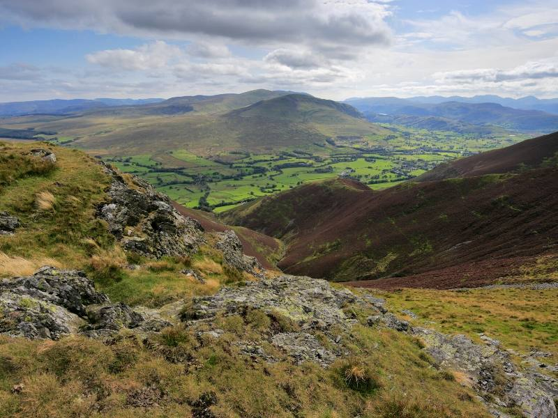 Scenic views over the Lake District near Threlkeld