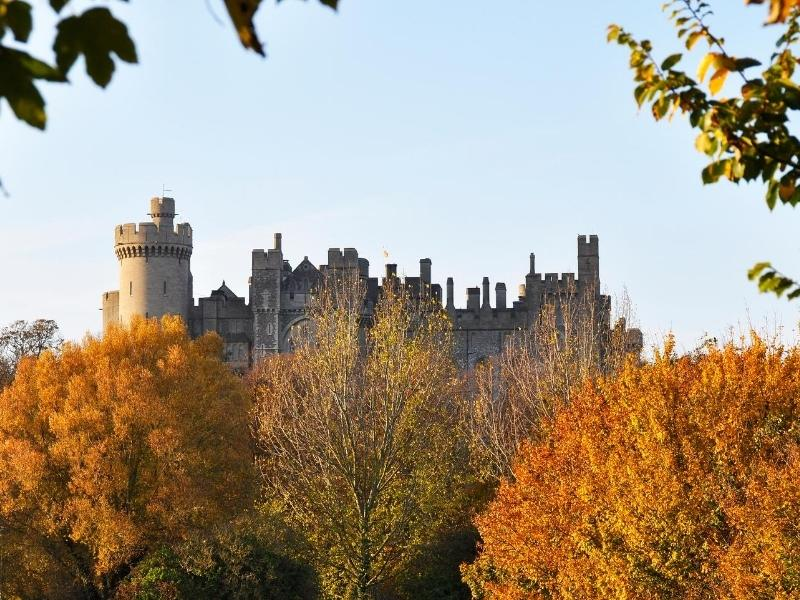 Arundel Castle surrounded by autumn leaves