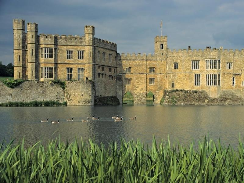 Leeds castle is surrounded by a moat