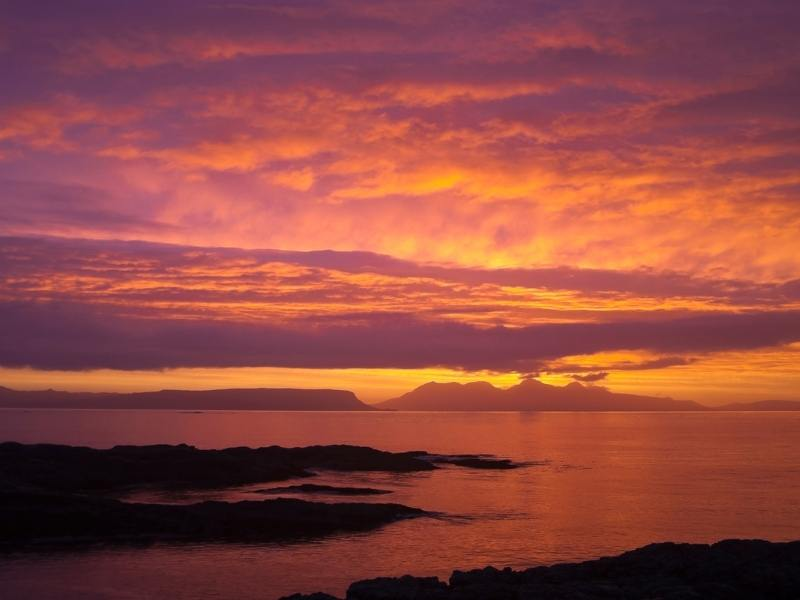 Sunset over the island of Rum