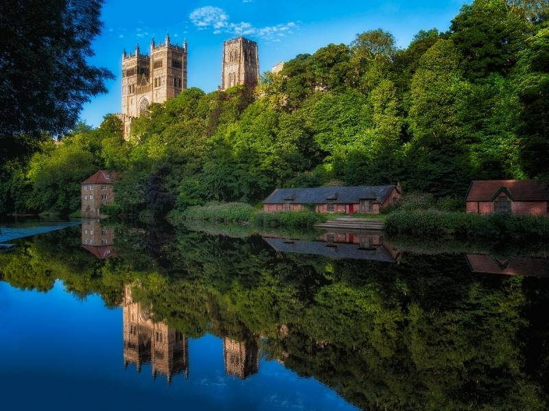 Durham Castle reflected in the river
