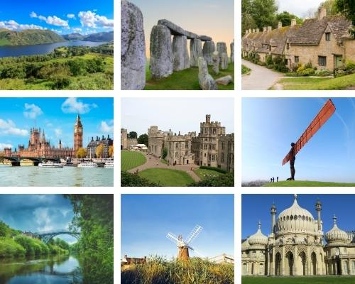9 pictures showing each of the regions of England