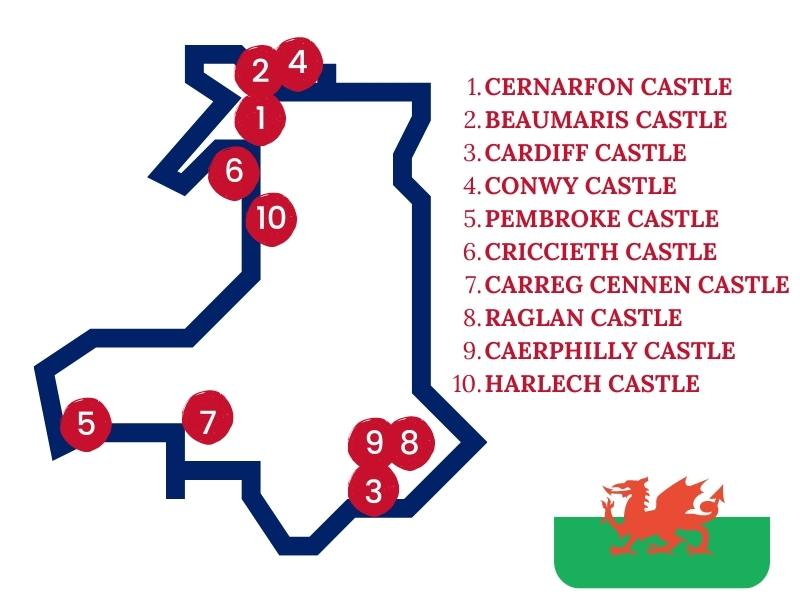 Map showing the locations of the best Welsh castles to visit in Wales