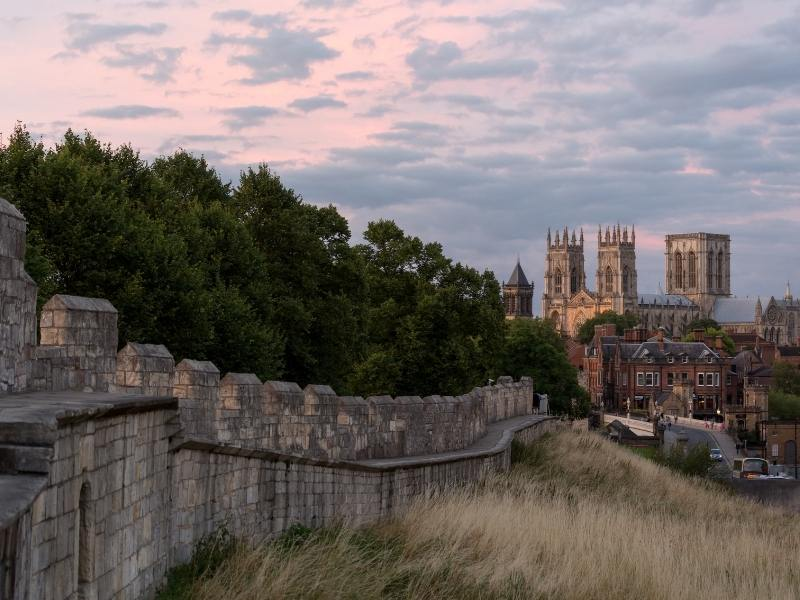 York Minster in the background with the walls of York