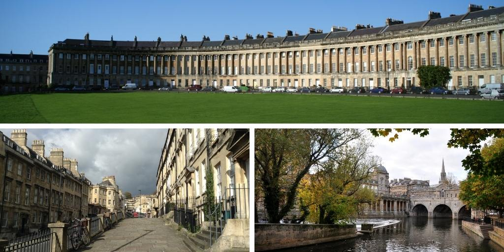 Views of the city of Bath in England
