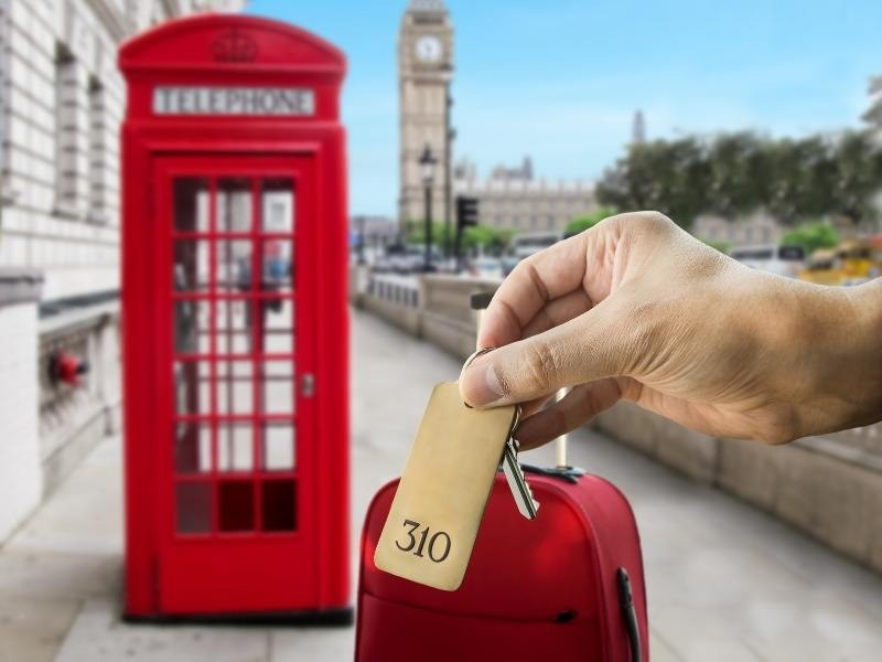 A London phone box, a red suitcase and a hotel room key