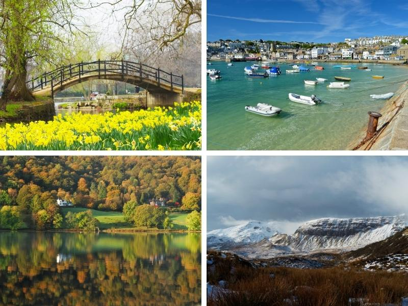 Scenes showing the 4 seasons in the UK Spring in England, Summer in St Ives Cornwall, Autumn in the Lake District and Winter in Scotland