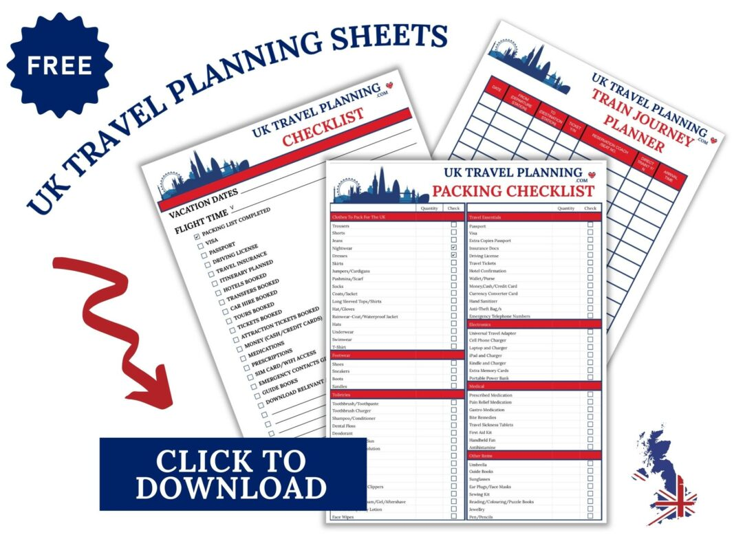 UK Travel Planning Sheets for the UK trip planner