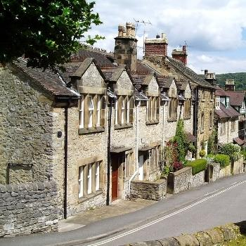 View of stone houses in the Peak District