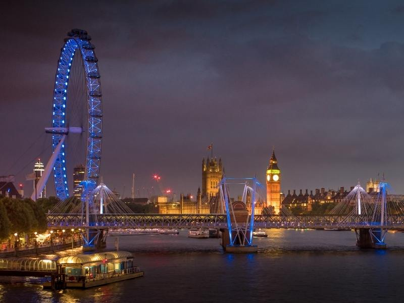 The View from South Bank London at night can be seen from some of the best hotels in Southwark, Bankside and South Bank London
