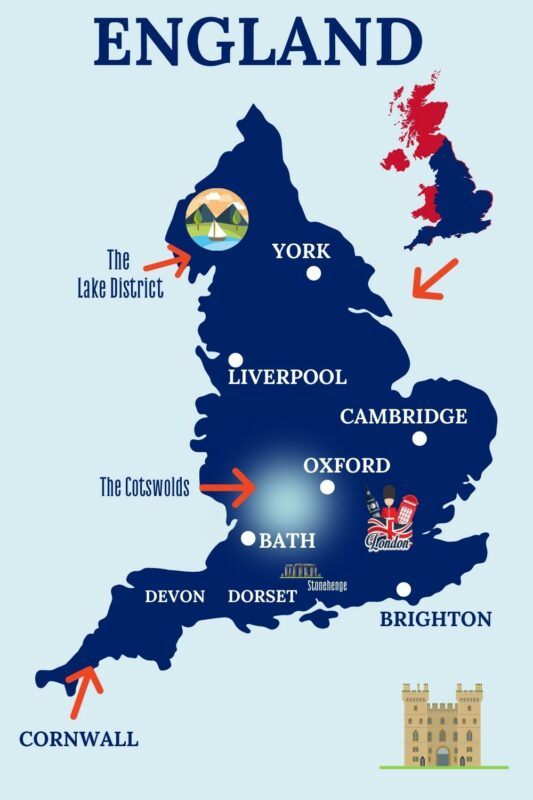 Map showing popular destinations in England