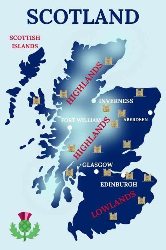 Map showing main destinations in Scotland