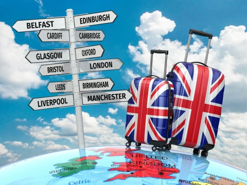 Suitcases with signposts to various UK destinations.