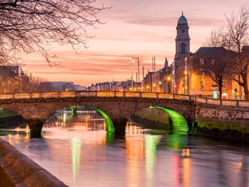 View of evening in Dublin can be appreciated on some of the best UK tours.