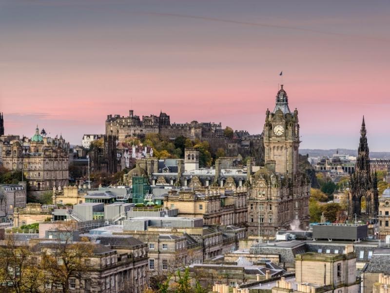 Edinburgh at dusk.