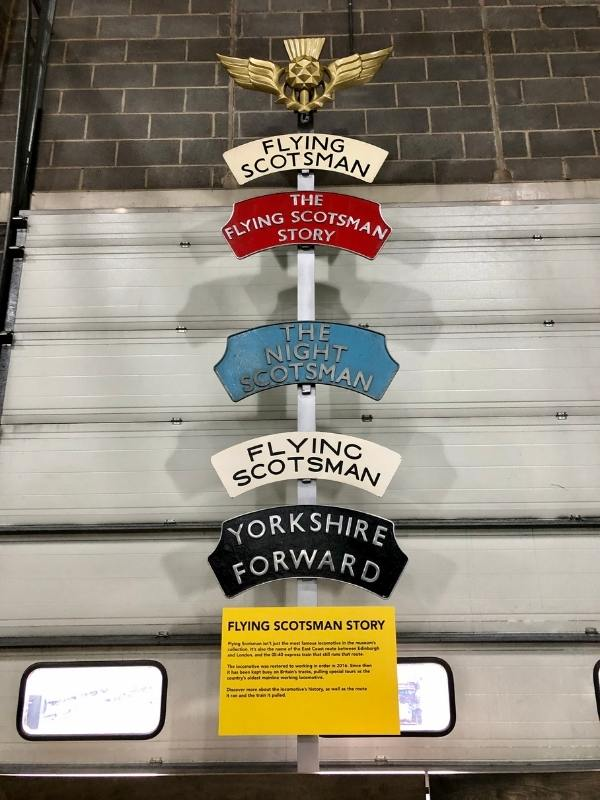 Flying Scotsman sign at the York Rail Museum