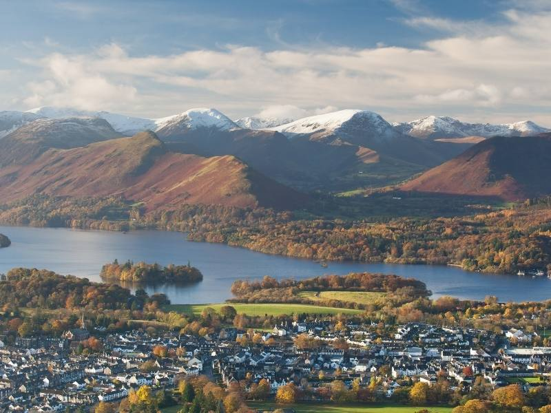 Aerial view of Keswick in the Lake District