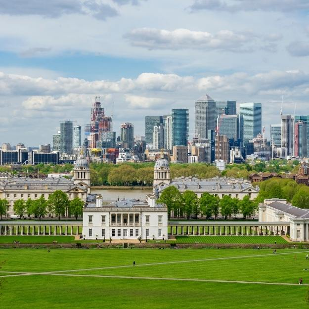 View of Canary Wharf in London.